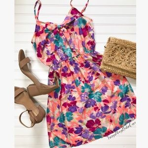 Pink Strappy Floral Dress with Bow Sundress F21